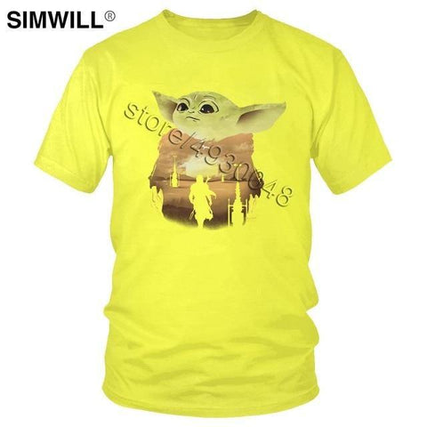Baby Yoda Mandalorian T Shirt Men Pure Cotton Star Wars T-shirt
