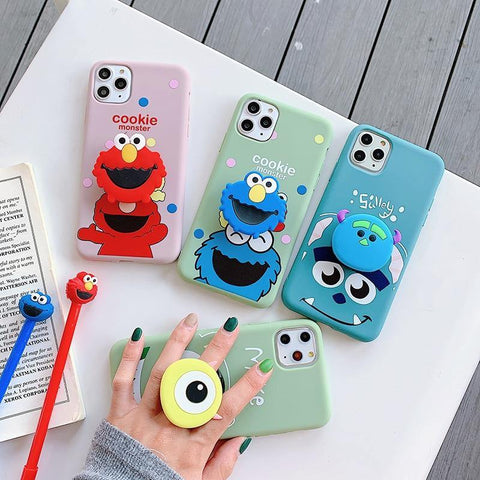Sesame Street Mike 3D support soft silicon cover case for iphone 7plus 8 8plus X XR XS max 11 Pro