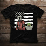 Boba Feet Star Wars Film T-shirt Cool O-neck Tops American Flag Baby Yoda Series t-shirt