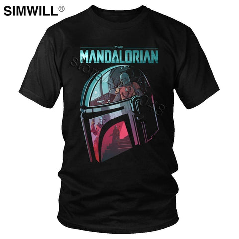 The Mandalorian T shirt Fashion Star Wars T shirt Helmet Reflection