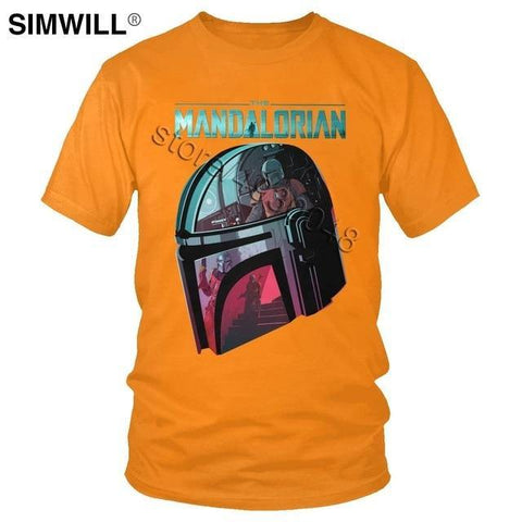 The Mandalorian T shirt Fashion Star Wars T shirt Helmet Reflection - Outfitter Style