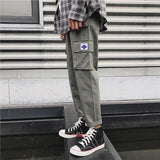 Side Pockets Pencil Pants Mens Hip Hop Patchwork Cargo Ripped Sweatpants Joggers