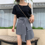 Mini Women Skirt Sexy Irregular A Word Slim Pleated Skirt Lace Up