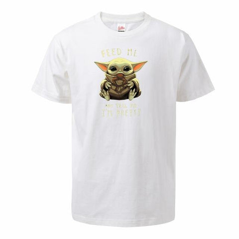 Baby Yoda Men T Shirts 2020 Summer The Mandalorian Tops Tees Feed Me And Tell Me I'm Pretty T-shirts