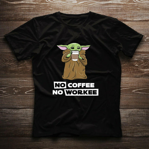 Baby Yoda Star Wars Star No Coffee No Work Funny Nice Gift T-shirt