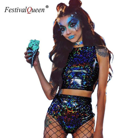 Festival Queen Holographic Crop Top and Hot Shorts Women 2 Piece Sets Sexy Lace Up - Outfitter Style