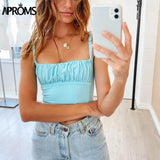 Candy Color Streetwear Tube Women Ruched Pleated Short Tank Tops 90s