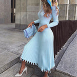 Elegant Party Pleated Sweater Dress Women Pink Office Knitted