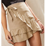 Sexy Mini Skirt Fashion Women Solid Ruffles Bandage Lace Up Short Skirt