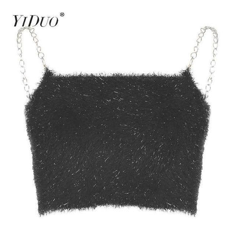 Women Metal Chain Straps Black Crop Top Camis Backless Party Club Sexy Furry