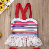 Newborn Infant Toddler Kids Baby Girl Cotton Summer Boho Lace Tops Skirt Set 2Pcs Outfit Clothes