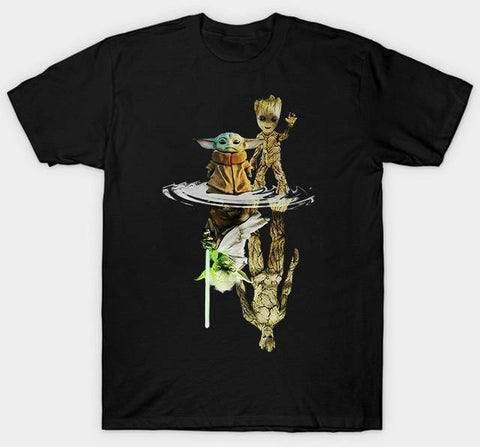 Yoda Baby and groot T Shirt White Size S M L XL 2XL3XL