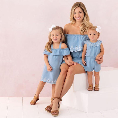 Family Matching Outfit Mother Daughter Clothes Dress Off Shoulder Cute Princess Baby Girls Lace Bodysuits