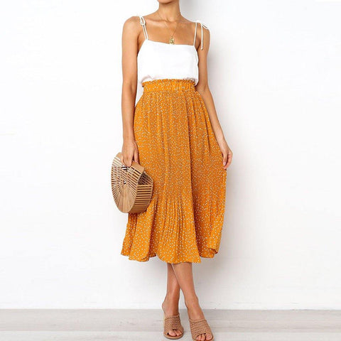 Women Summer Casual Elastic Waist Plus Size Skirt Party Ankle-Length Skirt - Outfitter Style