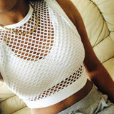 Women sexy O neck short sleeve see-through mesh fishnet crop tops