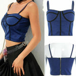 Women Sexy Zip Sling Corset Camisole Strap Blouse Bra