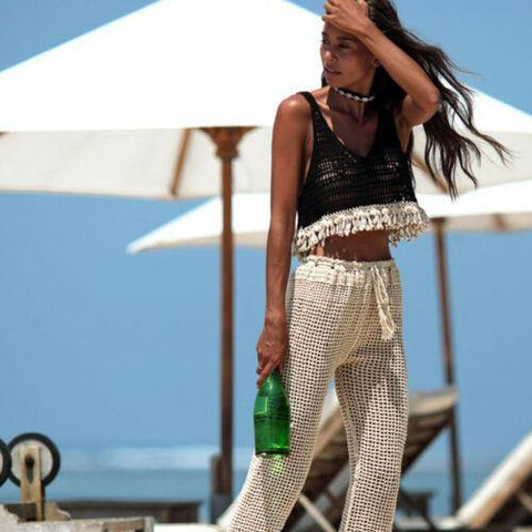 Sexy Hollow Out Crop Top Crochet Knit Beach Vest Female Streetwear - Outfitter Style