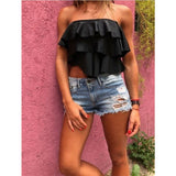 Women Sexy Elastic Tank Top Summer Ladies Strapless Bandeau Crop Tops