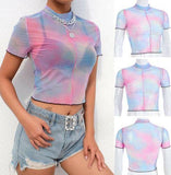 US Women Casual Crop Top Clubwear Summer Slim See-throuth Top