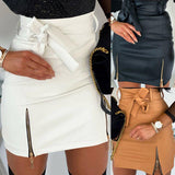 Sexy High waist PU leather Women Skirts Sashes Zipper Pencil Mini skirt