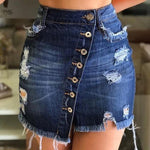 Casual Irregular High Waist Denim Skirt Light Wash Women Ripped Mini Skirt - Outfitter Style