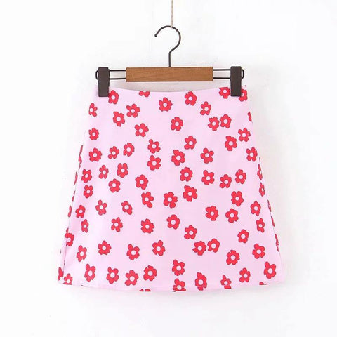 Style Flower Printing Women Pink Satin Mini Skirt Leisure Lady A-line Skirts