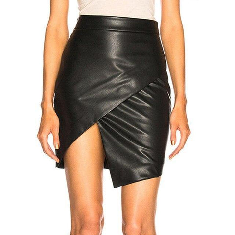 Summer skirt Women Black Cross Open Fork Bodycon Short Casual Faux Leather Mini Skirt - Outfitter Style