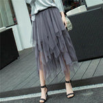Summer Party Petticoat Ball Gown Korean Pleated Midi Skirt High Waist Ruffle Tutu Long Skirts - Outfitter Style