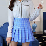 Plaid Pleated Satin Skirt High Waist Pleated Mini Skirt Women's Fashion Slim Waist Casual - Outfitter Style