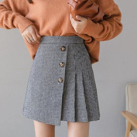Korean Preppy Style Plaid High Waist Pleated Mini Skirt Women