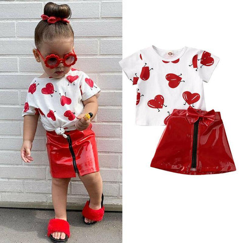 2Pcs Kids Girls Clothes Sets Valentine's Days Cute Kids Love Print Top T-Shirts+Leather Zip Skirts Baby Outfit