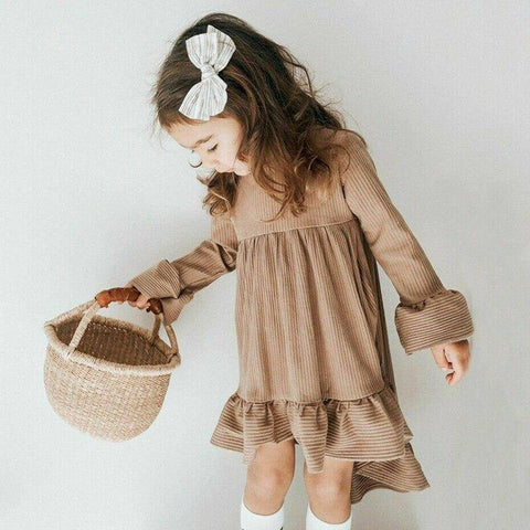 Princess Flower Girls Dress Long Sleeve Party Wedding Kids Dresses For Girsl Irregular Toddler Kids