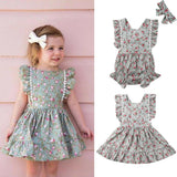 Baby Little Sister Clothes Toddler Kids Floral Ruffle Princess Bodysuits Dresses With Headbands Outfits