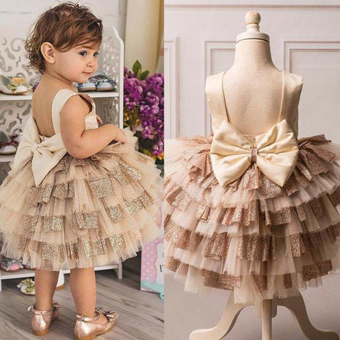 Wedding Party Princess Kids Dresses For Baby Girls Big Bow Backless Toddler Infant Bridesmaid