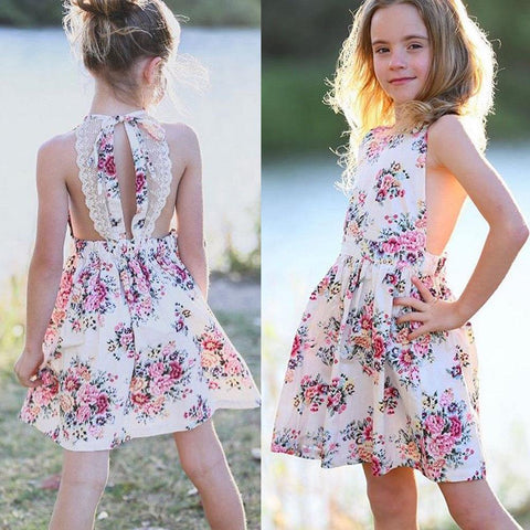 Summer Floral Kids Girls Dress Princess Lace Party Wedding Kids Dresses For Girls Fashion Backless Beach Kids