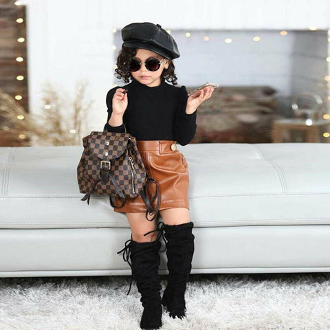 Fashion Winter Warm 2Pcs Toddler Baby Girl Tops Sweater + Leather Skirt Clothes 1-5Y
