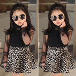 Princess Toddler Baby Girl Clothes Lace Long Sleeve Tops+Leopard Tutu Mesh Skirt Outfit Set