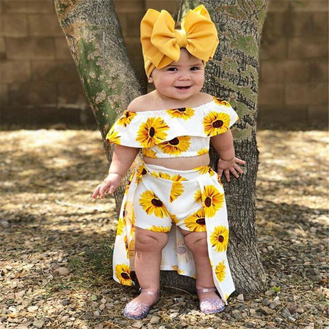 Toddler Baby Girl Sunflower Off Shoulder Crop Tops Shorts Dress Headband Outfits Cute Clothes
