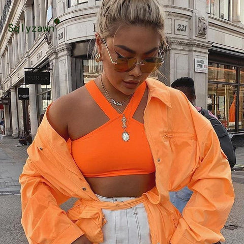 Orange White Haler Backless Sexy Cropped Top Women Sleeveless Casual