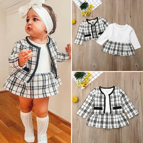 2Pcs Party Kids Clothes For Baby Girl Fashion Pageant Plaid Coat Tutu Dress Outfits Suit