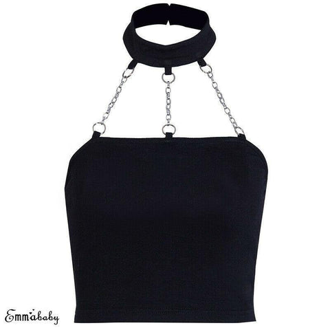 Women Sexy Metal Chain Halter Neck Chain Punk Backless Crop Top - Outfitter Style
