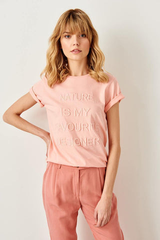 "Pink Printed Basic Knitting ""Nature is my favorite designer"" T-shirts"