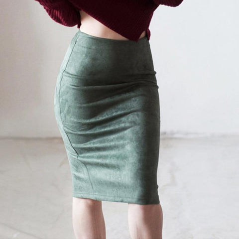 Women Suede Midi Pencil Skirts Causal High Waist Sexy Office Work