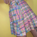 Women Skirt Pink Plaid Skirt Sweet High Waist Wild Cute Rainbow Skirts With Chain