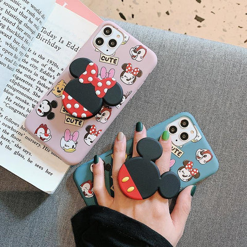 Cartoon mouse Holder Ring Soft Silicone phone case for iphone 8plus X XS XR MAX 11 Pro Daisy