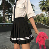 New Summer Preppy Style Mini Women Skirt High Waist Striped Pleated Skirt