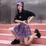 Skirts Purple Plaid High Waist Pleated Skirt Cute Mini Women Skirt Preppy