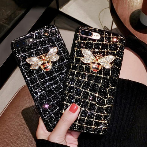 bee diamond glitter cute soft case for iphone 5 S 6 7 8 plus X XR MAX