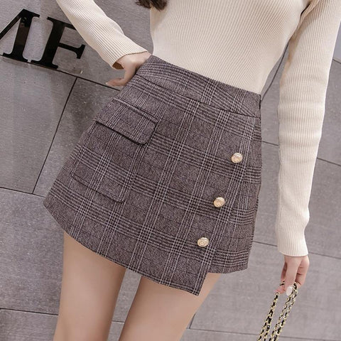 Pocket Wool Warm Winter Shorts Women Slim Fashion Button Plaid Skirt