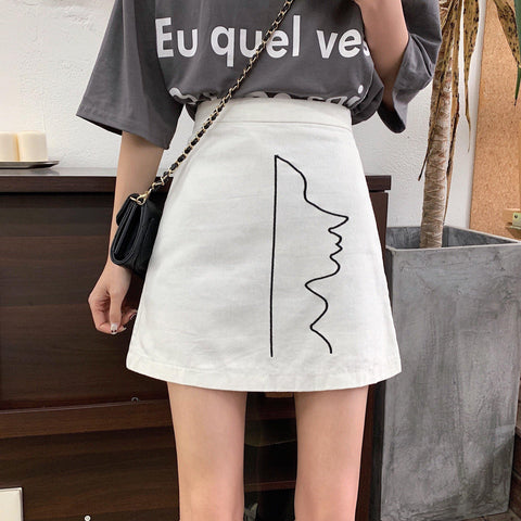 Women's Clothes Denim Skirt Elegant Slim Embroidered Skirts